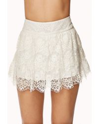 Forever 21 - Natural Crochet Tiered Layer Skort - Lyst