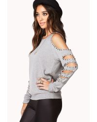 Forever 21 | Gray Cutout Raglan Sweatshirt | Lyst