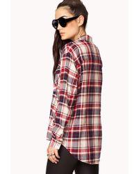 Forever 21 - Red Grunge Girl Plaid Shirt - Lyst