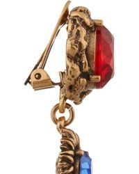 Oscar de la Renta - Red Gold-plated Crystal Clip Earrings - Lyst