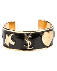 Saint Laurent - Black Ycons Cuff Bracelet - Lyst