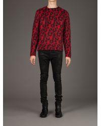 Saint Laurent - Red Leopard Print Sweater for Men - Lyst