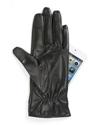 kate spade new york | Black Pyramid Bow Leather Tech Gloves | Lyst