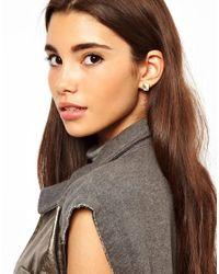 Orelia - Yellow Asos Mini Rectangle Earrings - Lyst