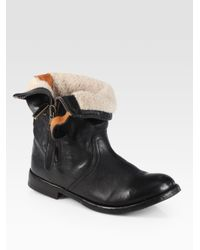 Burberry | Black Kerry Shearlinglined Leather Foldover Boots | Lyst