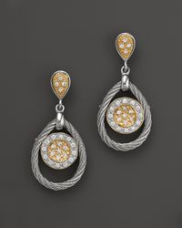 Charriol - Classique Collection 18k Yellow Gold, Stainless Steel And White Gold Nautical Cable Diamond Earrings - Lyst