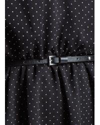 Mango | Black Flowy Polkadot Dress | Lyst