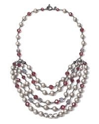 Brooks Brothers - Metallic Purple and Grey Glass Pearl Necklace - Lyst