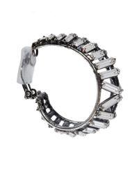 Iradj Moini - Metallic Oxidised Silver Crystal Hoop Earrings - Lyst