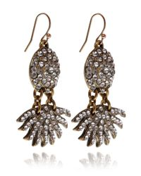 Lulu Frost - Metallic Swarovski Crystal and Brass Sunburst Pave Drop Earrings - Lyst