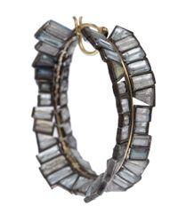 Nak Armstrong - Yellow Gold and Rainbow Moonstone Hoop Earrings - Lyst