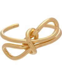 Balenciaga - Yellow Gold Laceup Bow Cuff - Lyst