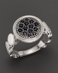 John Hardy | Metallic Dot Silver Lava Large Round Station Ring With Black Sapphire | Lyst