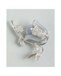 Kwiat | White Gold and Diamond Flower Brooch | Lyst