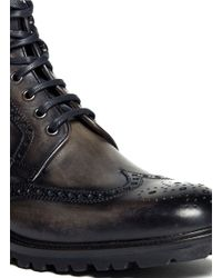 Saks Fifth Avenue - Gray Lutisburg Wing-tip Brogue Boots for Men - Lyst