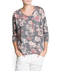 Mango - Gray Floral Print Tshirt - Lyst
