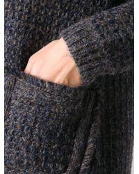 Tory Burch - Blue Faux fur Collar Cardigan - Lyst