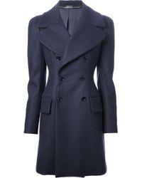 Alexander McQueen | Blue Double Breasted Coat | Lyst