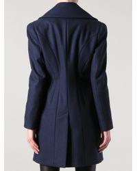 Alexander McQueen - Blue Double Breasted Coat - Lyst