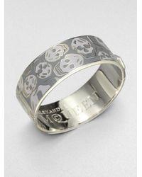 Alexander McQueen | Gray Enamel Skull Medium Cuff Bracelet | Lyst