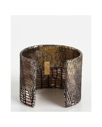 A.V. Max - Gold and Silver Metallic Python Embossed Leather Cuff - Lyst