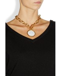 Bottega Veneta - White Gold-Plated, Porcelain And Glass Stone Necklace - Lyst