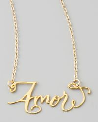 Brevity - Metallic Amor Hand-calligraphed Necklace - Lyst