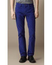 Burberry - Blue Cotton Corduroy Trousers for Men - Lyst
