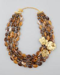 Jose & Maria Barrera - Brown Agate Tigers Eye Bib Necklace - Lyst