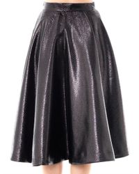 Lulu & Co | Black Metallic Full Pleated Skirt | Lyst