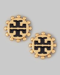 Tory Burch | Metallic Winslow Enamel Tlogo Stud Earrings Black | Lyst