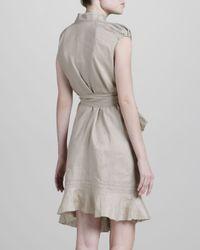 Zac Posen | Gray Asymmetric Cotton Dress Natural | Lyst