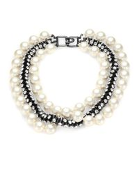 Kenneth Jay Lane | White Faux Pearl and Hourglass Bead Necklace | Lyst