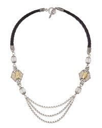 Konstantino | Black Iris Leatherchainrock Crystal Necklace | Lyst