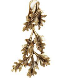 Oscar de la Renta - Metallic Gold Plated Oak Leaf Clip Earrings - Lyst