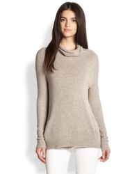 Theory - Gray Norman B Cashmere Draped Turtleneck Sweater - Lyst