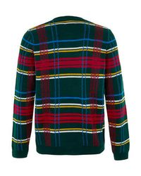TOPMAN - Green Tartan Jumper for Men - Lyst