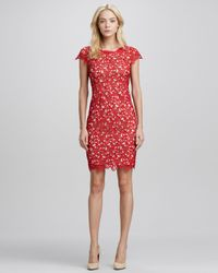 Alice + Olivia | Red Alice Olivia Clover Capsleeve Eyelet Dress | Lyst