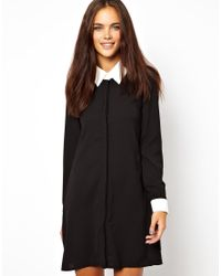 Glamorous   Black Swing Shirt Dress with Contrast Collar and Cuff   Lyst