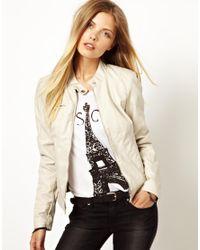 ASOS - White Vero Moda Distressed Leather Look Biker Jacket - Lyst