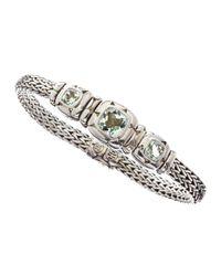 John Hardy - Metallic Silver Batu Kali Green Amethyst Bracelet - Lyst