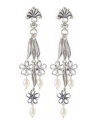 Lagos - Metallic Pearl Flowerdrop Earrings - Lyst