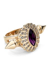 Mawi | Purple Oval Crystal Double Spiked Ring | Lyst