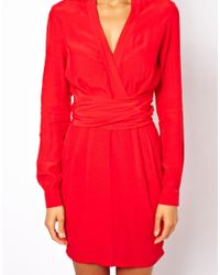 ASOS - Red Wrap Dress With Tulip Skirt And Long Sleeves - Lyst