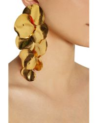 Herve Van Der Straeten - Metallic Hammered Gold Plated Clip Earrings - Lyst