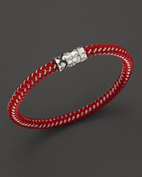 John Hardy | Metallic Men'S Palu Silver Single Station Bracelet On Red Nylon Cord for Men | Lyst