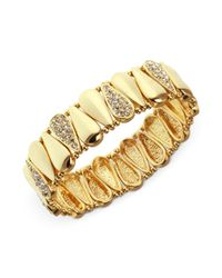 Nine West - Metallic Gold Tone Crystal Teardrop Stretch Bracelet - Lyst