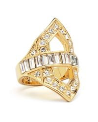 Rachel Zoe | Metallic Deco Cutout Crystal Ring | Lyst