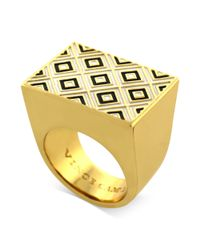 Vince Camuto - Metallic Goldtone Black and White Geometric Cocktail Ring - Lyst
