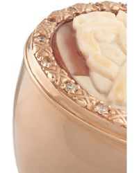 Amedeo - White Rose Gold Plated Cornelian and Diamond Monkey Cameo Ring - Lyst